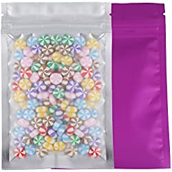 "100 Assorted Translucent/Silver/Colored Flat Metallic Foil Mylar Zip Lock Bags Pouch 8.5x13cm (3.3x5.1"") (Purple)"