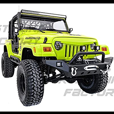 Restyling Factory 97-06 Jeep Wrangler Full Size TJ Rock Crawler Front Bumper with Winch Mount Plate, Built in 2x Square LED Side Mount