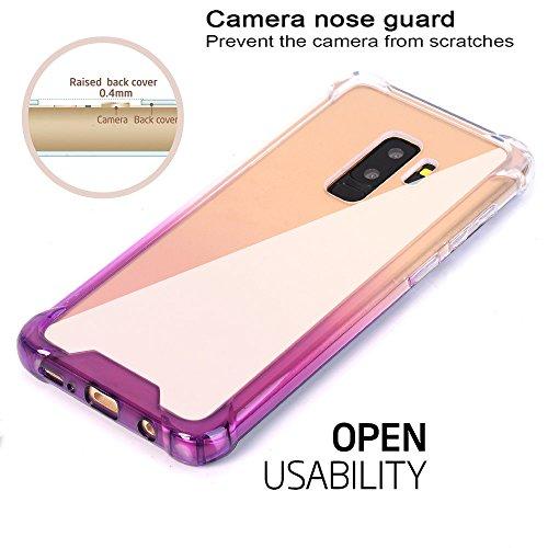 6d27d5bc48 Galaxy S9 Plus Case, BAISRKE Clear Purple Gradient Shock Absorption ...