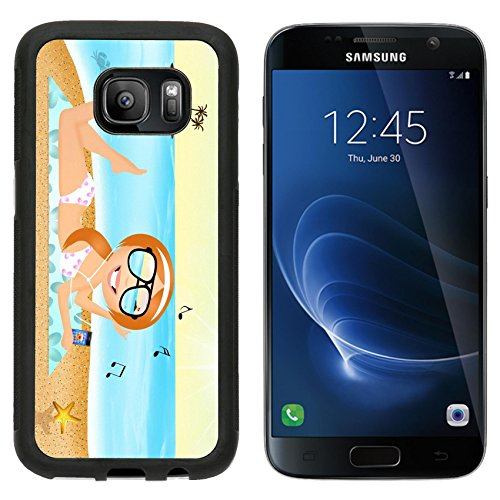 [MSD Premium Samsung Galaxy S7 Aluminum Backplate Bumper Snap Case girl with headphone music on the beach Image ID] (Ms Swimming Costume)