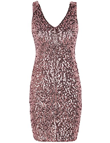 PrettyGuide Women Sexy Deep V Neck Sequin Glitter Bodycon Stretchy Mini Party Dress S Pink ()