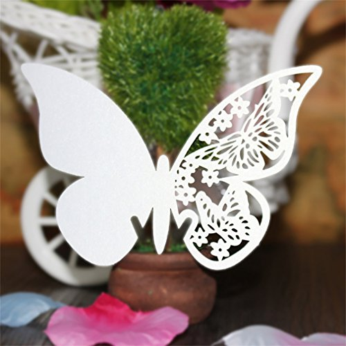 Wine Glass Card,AmyTalk 50pcs Laser Cut Name Place Cards Escort Name Card for Wedding Party Decoration Favor (Butterfly White)