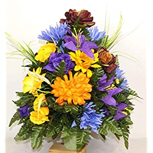 Beautiful XL Artificial Fall Mixture Cemetery Flower Headstone 3-Inch Vase Grave Decoration 26