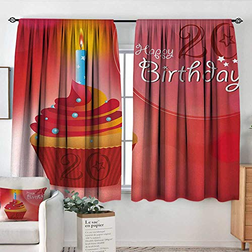 Curtains for Living Room 20th Birthday,Sweet 20 Themed Birthday Party Cupcake with Beams Backdrop Print,Vermilion Pink and Red,Decor Collection Thermal/Room Darkening Window Curtains 63