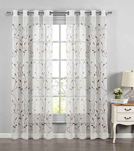 Window Elements Wavy Leaves Embroidered Sheer Extra Wide 54 X 84 In Grommet Curtain Panel Chocolate