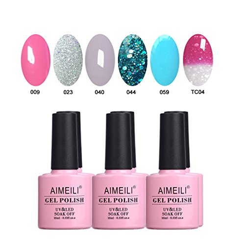 AIMEILI Soak Off UV LED Gel Nail Polish Multicolor/Mix Color/Combo Color Set Of 6pcs X 10ml - Kit Set 4]()