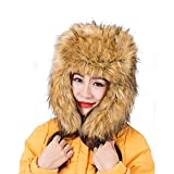 Dikoaina Faux Fur Snow Trapper Hat with Ear Flap for Skiing Head Circumference 22''-22.8'' (Yellow)