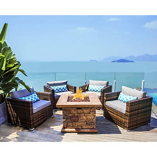 COSIEST 5-Piece Faux Brown Propane Fire Pit Outdoor Furniture Brown Chairs, Warm Gray Wicker Thick Cushion Sofa w 35-inch Square Gas Fire Table (50,000 BTU) for Garden, Pool, Backyard