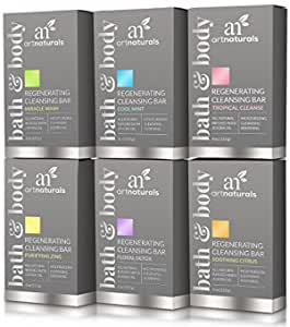 ArtNaturals Natural Soap Bar Gift Set - (6 x 4 Oz / 113g) - Infused with Jojoba Oil - for All Skin Types - Body and Face - Tea Tree, Lavender, Eucalyptus, Lemon, Grapefruit and Orange - Men and Women