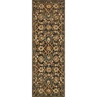 Loloi Traditional Runner Area Rug 26x76 in Dk Taupe-Multi Color From Victoria Collection
