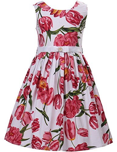 - PrinceSasa Elegant Toddler Dress Cotton Floral Sundresses Red Flower Girls Clothes for Sleeveless Summer Party Dress,f5,51''/6-7 Years(Size 130)