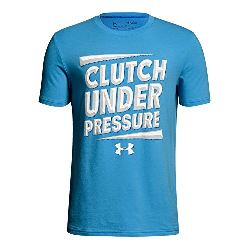 Under Armour Boys' Clutch Under Pressure T-Shirt, Canoe Blue (713)/White, Youth (Large Canoe)
