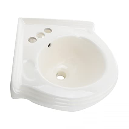 Merveilleux Corner Wall Mount Sink Bathroom Bone Vitreous China EZ Clean Scratch And  Stain Resistant Finish