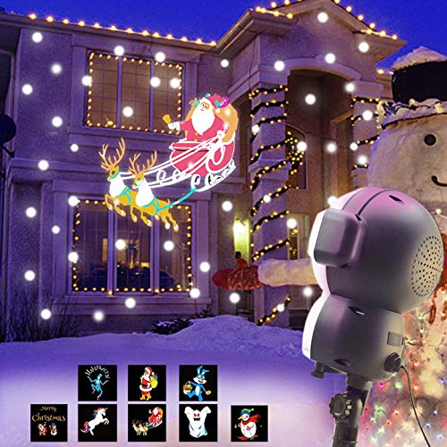 AOLOX SN-01 Snow Animated, Outdoor Halloween Christmas Decorative LED Snowfall Projector Lighting with Music Playback and Remote Control, Multicolor (Animated Lighting Christmas)
