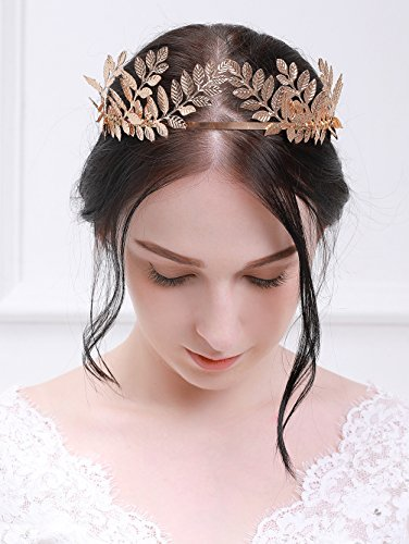 fxmimior Handmade Bridal Wedding Crown Leaf Headband Women Crystal Tiara Headpiece (GOLD) (gold)
