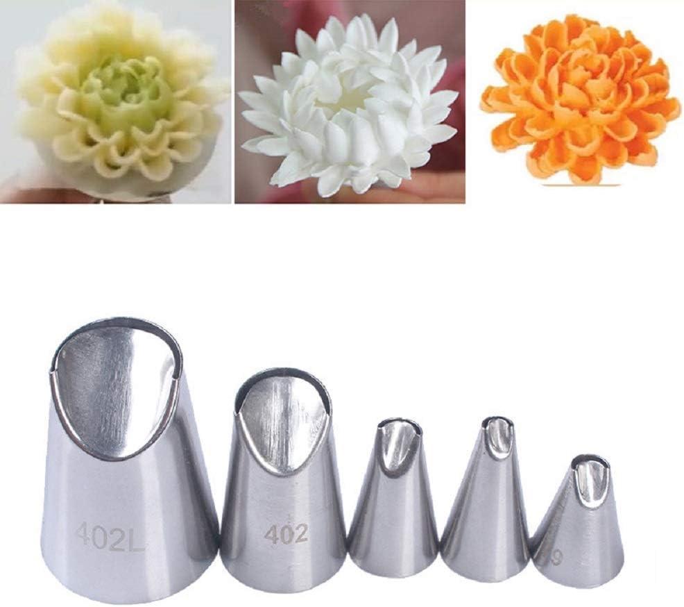 5pcs Rose Petal Metal Cream Tips Cake Decorating Tool Icing Piping NozzleR/_ju
