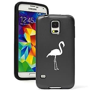 Samsung Galaxy S5 Aluminum Silicone Dual Layer Hard Case Cover Flamingo (Black)