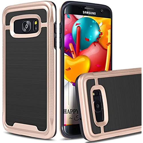 S7 Edge Case,HoneyAKE [Slim Fit][Shockproof][Lightweight] Snug Sleek Brushed Texture Soft TPU Rubber Armor Bumper Defender Protective Cover Case for Galaxy Sales