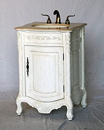 24u0026quot; Wood Single Sink Antique White Bathroom Vanity With Beige Cream  Ivory Marble Top And