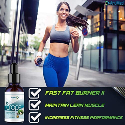 Anumed e-Drops Premium Fast Fat Burner   Metabolism & Energy Booster   Control Hunger   Super Fast Transformation   Healthy Weight Loss Drops   All Natural Vegan & Keto-Friendly for Women & Men (1oz) 6