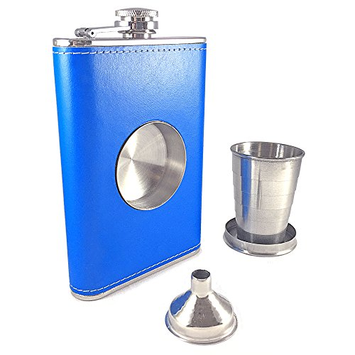 8oz Blue Stainless Steel Alcohol Drink Liquor Whisky Hip Flasks - 5