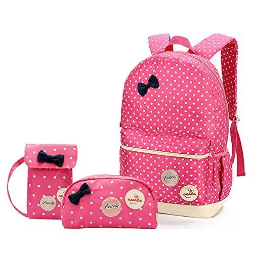 MIUCOO Polka Dot 3pcs Kids Book Bag School Backpack Handbag Purse Girls Teen (Pink)