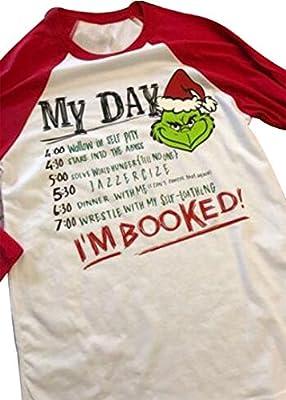 SPORSET Women Christmas Grinch Cute Funny Letter Print Raglan Baseball T-shirt Top