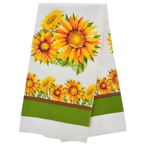 TopNotch Outlet Sunflower Decor - Potholder Towel Linen Set of 4 Pieces Sunflower Design Includes 1 Kitchen Towel 2 Potholders 1 Oven Mitt - Linen Sunflower Set - Kitchen Decor by TopNotch Outlet (Image #1)'