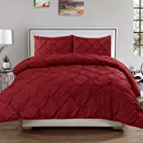 FINE LECHO Soft Luxurious 3-Piece Pinch Pleated Pintuck Decorative Quilt Duvet Cover Set Highest Quality Egyptian Cotton 800 Thread Count Comforter Cover (Twin/Twin XL, Burgundy