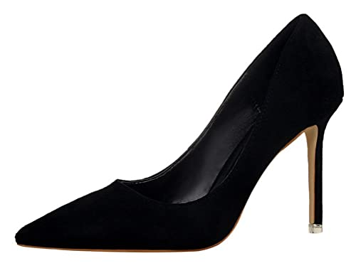 Passionow Women s New Elegant Classic Wedding Party Comfort Stiletto Heel  Pointed Toe Suede Pumps (5 052186e2cd3e