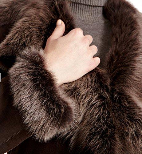 Long Pour Daim Marronž De Peau Z A Vžritable Manteau Avec To 3 4 Argentže En Mouton Leather Femmes D'hiver WRwZpgqO