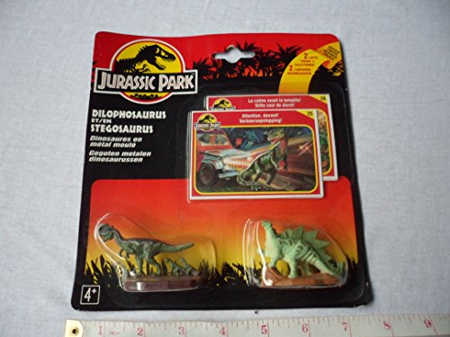 Jurassic Park Die Cast Mini Dilophosaurus and Stegosaurus with 2 Collector Cards