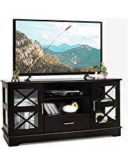 Tangkula Wood TV Stand with 2 Glass Door Cabinets, Media Console with Drawer & 2-Tier Adjustable Shelves, Living Room Entertainment Center for TVs up to 55 Inch, TV Console Table (Brown)