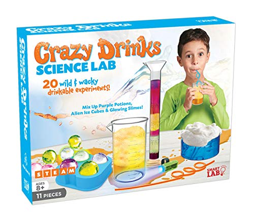 SmartLab Toys Crazy Drinks Science Lab - 11 Pieces - 20 Experiments - Includes UV Light & 2 Crazy Drink Straws!
