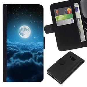 KLONGSHOP // Tirón de la caja Cartera de cuero con ranuras para tarjetas - Luna Nubes Blue Stars Espacio Universo - HTC One M7 //