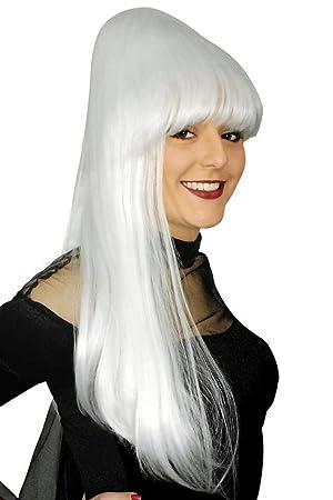 De Halloween peluca de estilo gótico Vamp Sadia Blanca