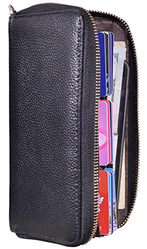 Easyoulife Womens Wallet Clutch Leather Card Wallet 20 Card Slots RFID Blocking