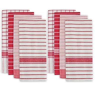 DII 100% Cotton, Machine Washable, Classic Striped, Everyday Kitchen Basic Dishtowel, 20 x 28 , Set of 8- Red
