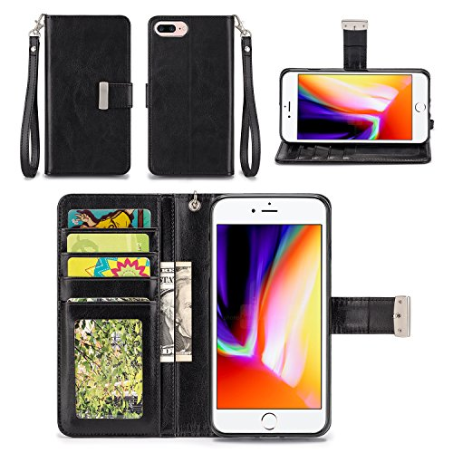 iPhone 8 Plus Case - IZENGATE [Classic Series] Wallet Cover PU Leather Flip Folio with Stand (Black)
