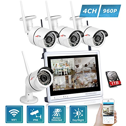 Wireless Security Camera System 960p ANRAN 12inch Wireless Surveillance Video Kit, 4pc 1.3MP CCTV Network Bullet Cameras Outdoor Indoor Waterproof, 1TB Hard Drive, Auto Pair, Plug Play, Free App