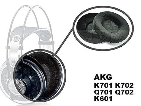WEWOM 2 almohadillas de repuesto de alta calidad para cascos AKG K601, K701, K702, Q701 y Q702, terciopelo negro: Amazon.es: Electrónica