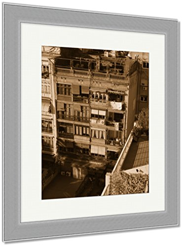 Ashley Framed Prints Barcelona City Spain, Wall Art Home Decoration, Sepia, 30x26 (frame size), Silver Frame, AG6174058 by Ashley Framed Prints