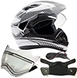 Dual Sport Snocross Snowmobile Helmet w/ Electric Heated Shield - White / Silver - XL