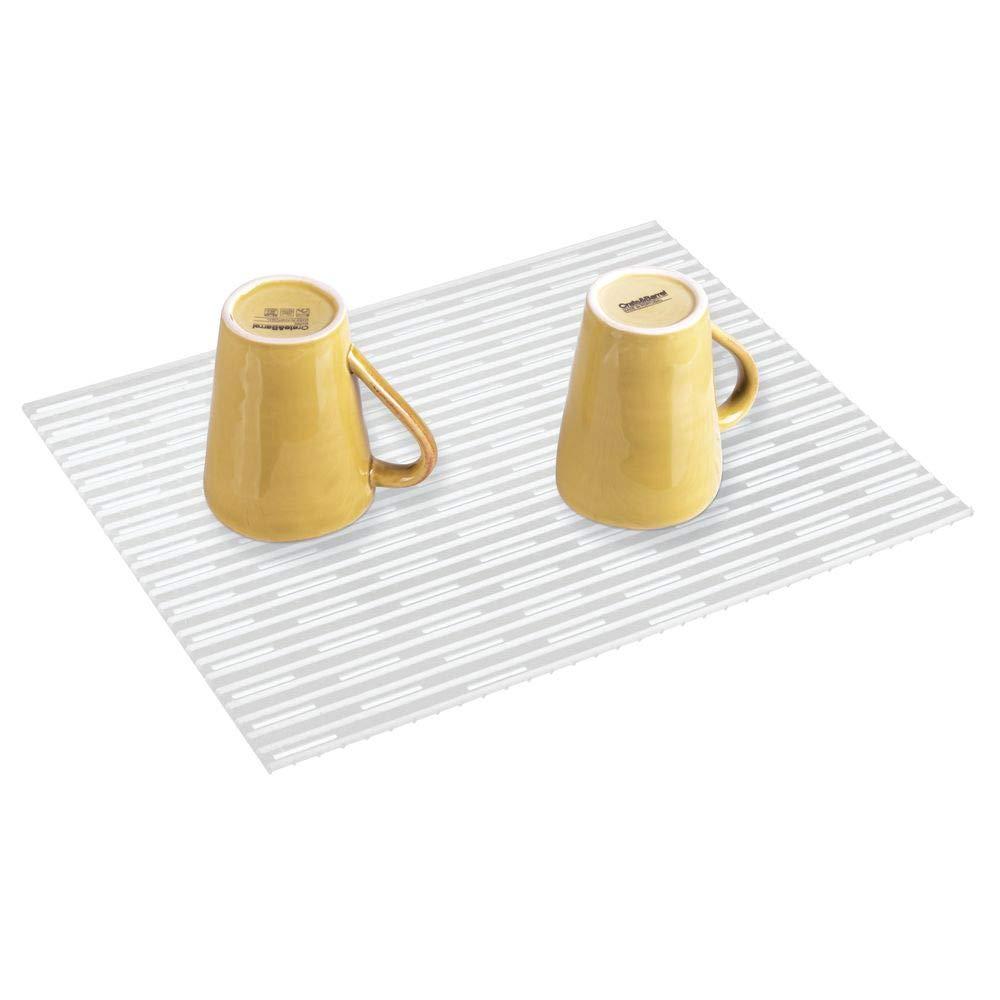 Tama/ño: 40,6 cm x 31,75cm Color: Transparente Paquete de 2 Alfombrilla silicona protector fregadero de mDesign
