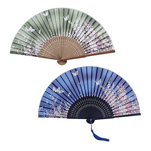 Liuhuida Bamboo Silk Folding Fans 2-Pack Hand Held Folding Fan, Wedding Gifts Cooling Yourself 8.27