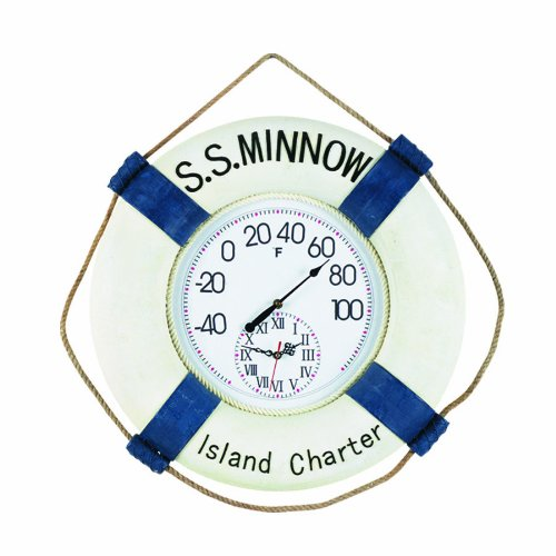 RAM Gameroom Products Outdoor Decor S.S. Minnow Fahrenheit Clock and Thermometer by RAM Gameroom (Image #1)