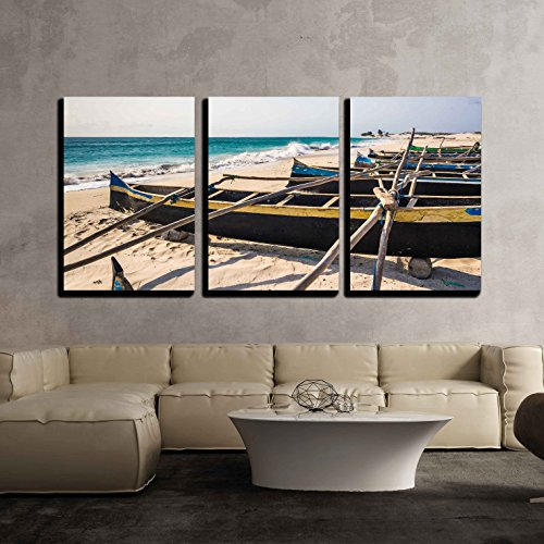 Fishing Canoes on the Beach of Itampolo Southern Madagascar x3 Panels