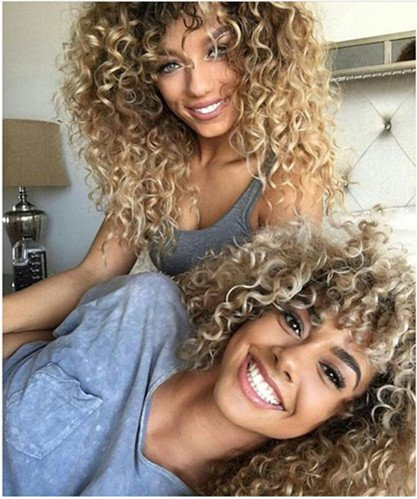 Red Blonde Wig - Vigour Beauty Wigs for Black Women Afro Kinky Wig Short Curly Wigs Blonde and Brown Ombre Wig Heat Resistant Fiber 14'' with Wig Cap