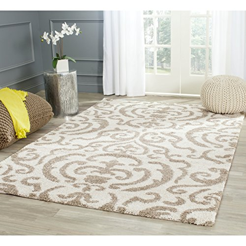 Safavieh Florida Shag Collection SG462-1113 Cream and Beige Square Area Rug (6'7