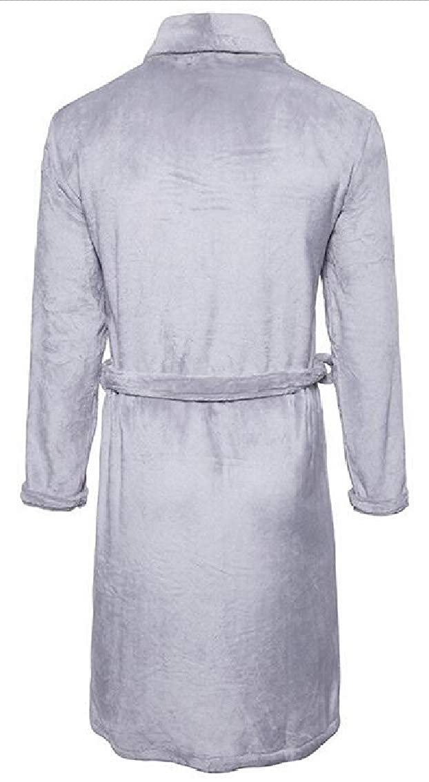 Jaycargogo Mens Solid Plush Spa Robe Fleece Kimono Bathrobe Nightgown